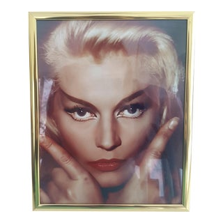 Mid Century Framed Portrait of a Hollywood Blonde Bombshell For Sale