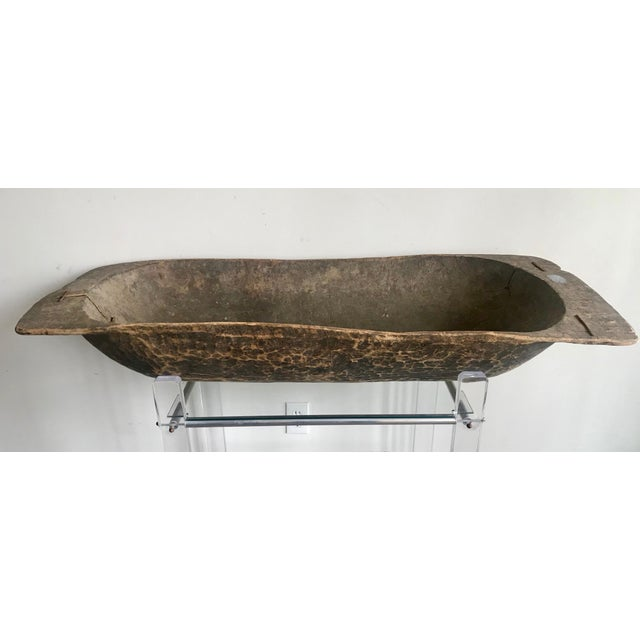 Wood Antique Turkish Boho Rustic Dough Bowl For Sale - Image 7 of 7