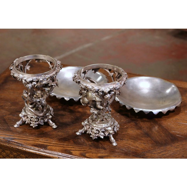19th Century French Silvered Bronze Compotes Signed Christofle - a Pair For Sale In Dallas - Image 6 of 10