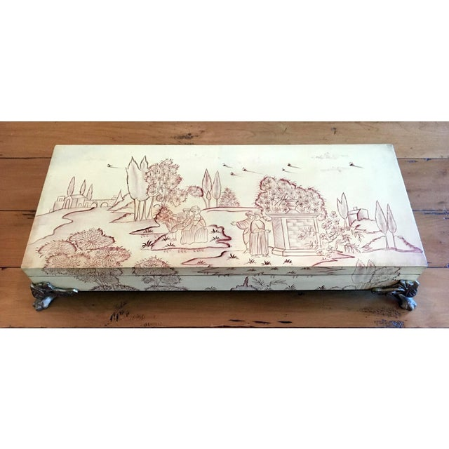 Vintage Mid-Century Sarreid Ltd. Chinoiserie Painted Mural Decorative Box For Sale - Image 9 of 9