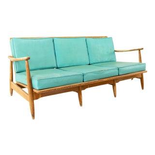 Kofod Larsen Style Mid Century Teal 3 Seater Sofa For Sale