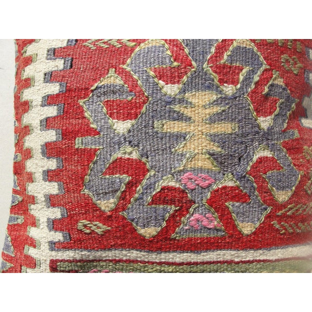 Turkish Kilim Rug Pillow For Sale - Image 3 of 11