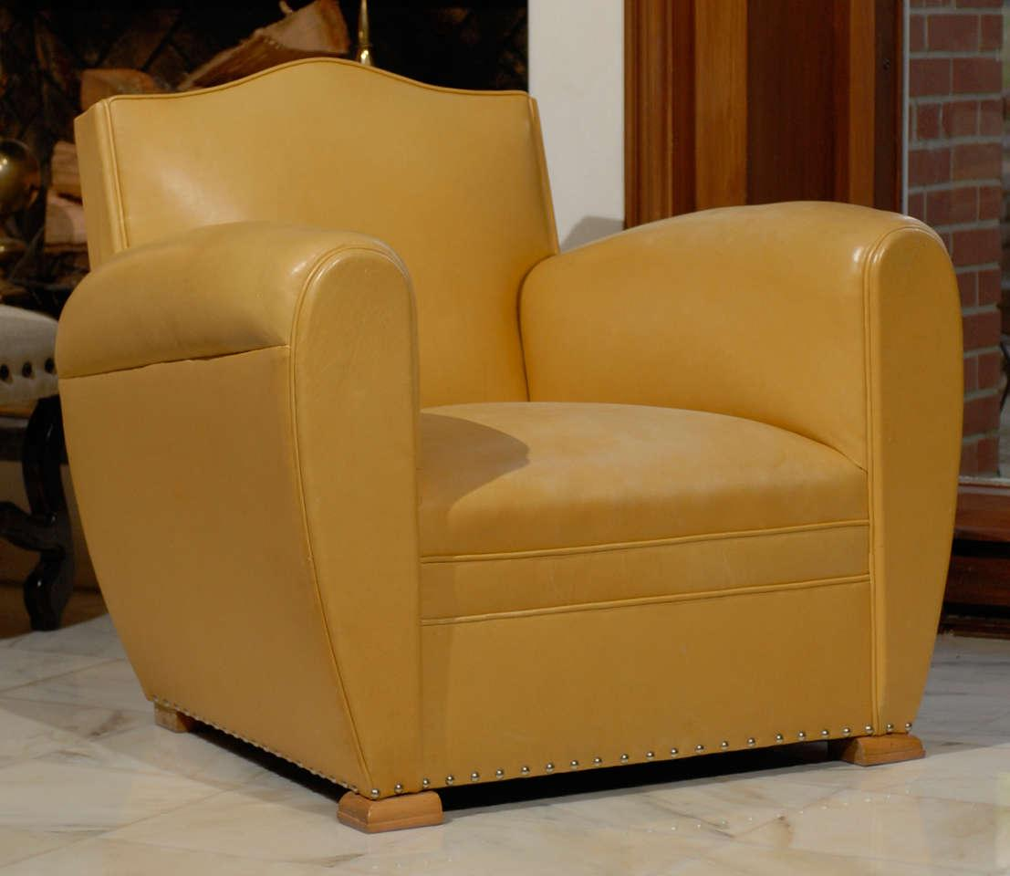 Handsome Art Deco Club Chairs In Yellow Ochre Leather For Sale   Image 10  Of 11