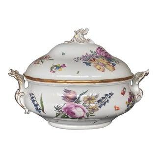 Vintage Floral Porcelain Soup Tureen For Sale