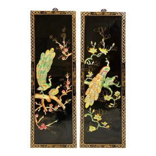 Mid Century Chinoiserie Wood & Mother of Pearl Peacock Wall Panels - Pair For Sale
