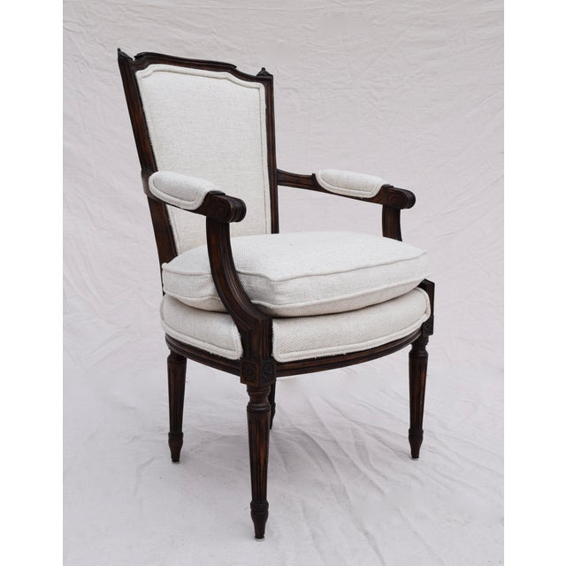 Turn of the 19th-century Louis XVI French Futueil newly reupholstered in thick woven Egyptian cotton fabric. Features...