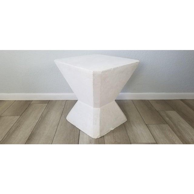 Vintage Postmodern Geometric Plaster Side Table For Sale - Image 13 of 13