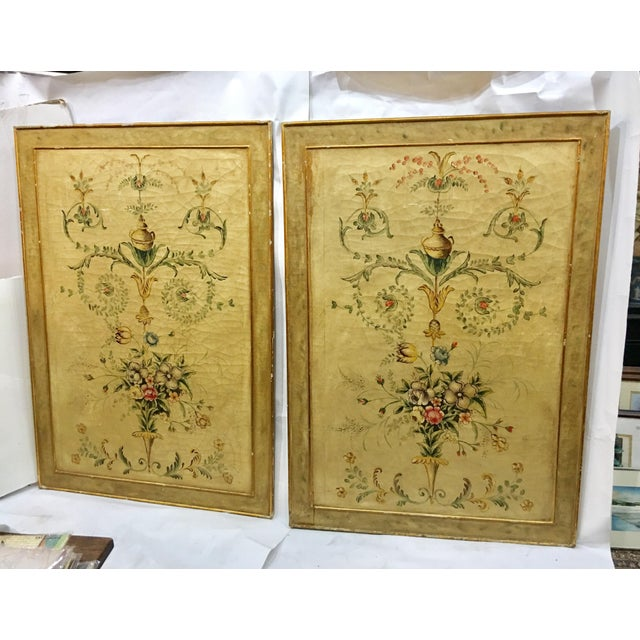 Early 20th Century Antique Painted Floral Canvas Panels - A Pair For Sale - Image 12 of 12