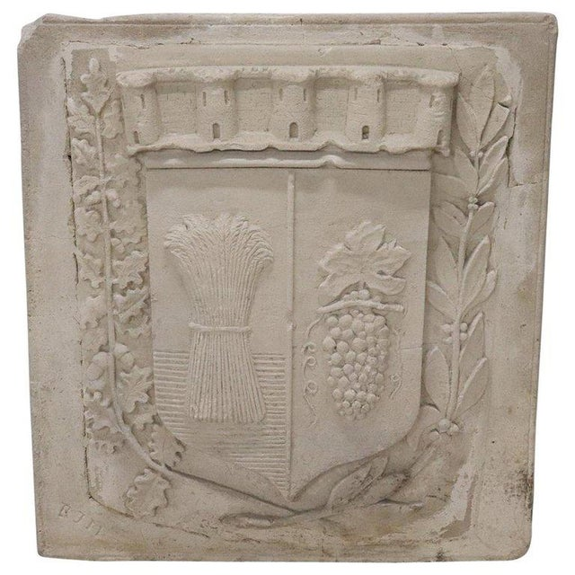 19th Century Italian Pozzolan Large Heraldic Coat of Arms, Wall Decoration For Sale - Image 13 of 13