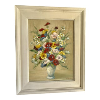 Midcentury Framed Floral Still Life Bouquet Oil Painting For Sale
