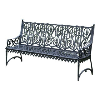 19th-Century Cast-Iron Curtain Style Bench