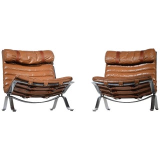 Arne Norell Ari Easy Chairs in Cognac Leather by Norell Ab in Sweden - a Pair For Sale
