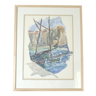 """Two Boats at the Quay"" Vintage 1932 Watercolor Painting by J.B. Houser For Sale"