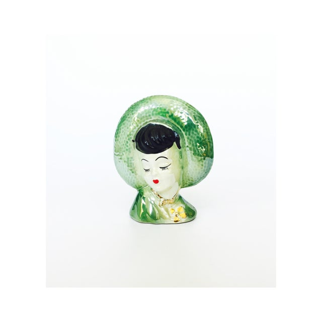 Vintage Green Lady Head Vase - Image 2 of 6