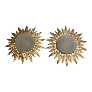 1940's Gilt Metal Sunburst Light Fixtures - a Pair For Sale