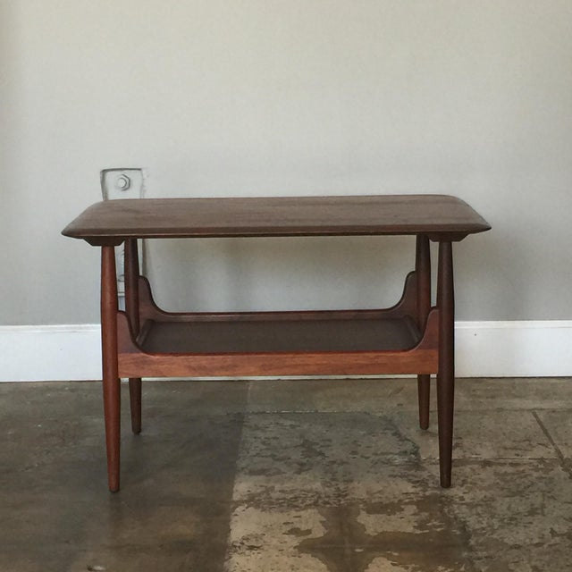 Pair of Chic Two-Tier Walnut Side Tables For Sale - Image 4 of 8