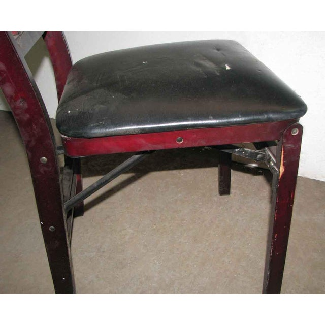 Wood Antique Black Folding Wood Chair For Sale - Image 7 of 11