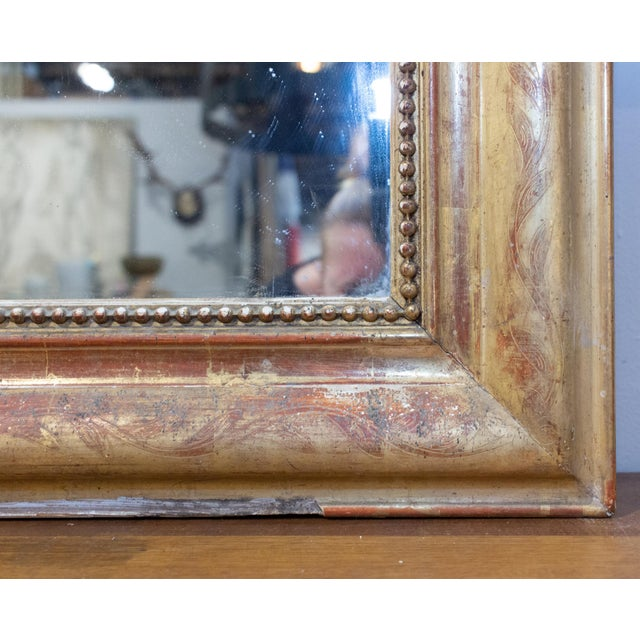 Wood Antique French Gilt Louis Philippe Mirror With Floral Decoration For Sale - Image 7 of 13