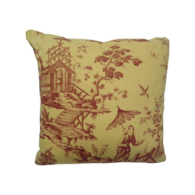 Large Pillow with Fishing Scene Details - Image 1 of 4