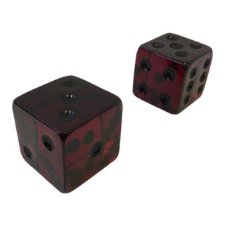 Large Burgundy Acrylic Dice by Charles Hollis Jones - a Pair For Sale