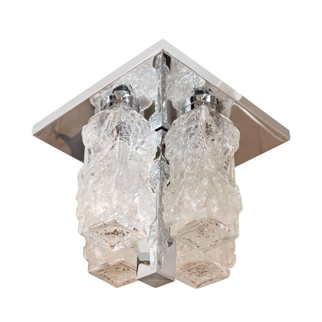 1960s Vintage Petite Square Polished Nickel and Ice Glass Flush Mount For Sale - Image 5 of 5