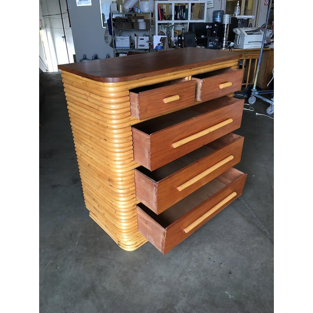 Restored Stacked Rattan Highboy Dresser With Mahogany Top For Sale - Image 4 of 10