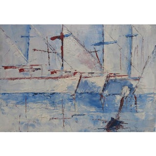 Sailboats Impasto Oil Painting For Sale