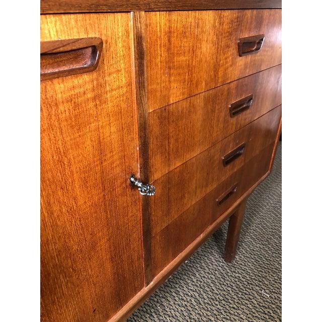 Wood Mid Century Teak Secretary Desk by Turnidge of London For Sale - Image 7 of 13