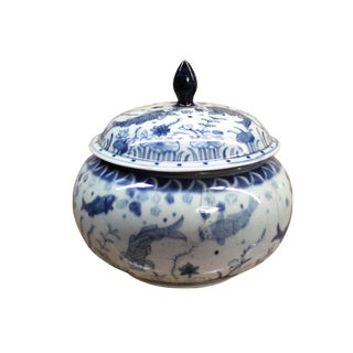 Chinese Oriental Small Blue White Porcelain Round Container Urn For Sale