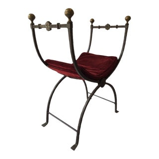 1920s Gothic Iron Bench with Brass Accents For Sale