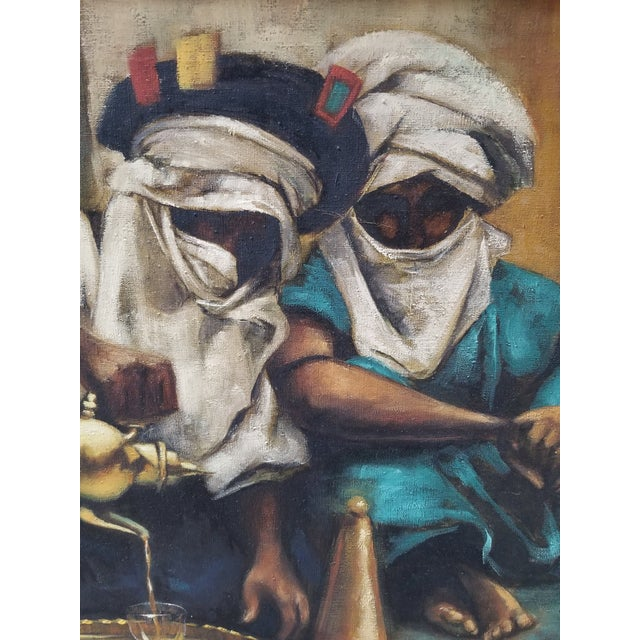 """Canvas 1990s Jenine Tomao """"Coffee Drinkers"""" Oil on Canvas Painting For Sale - Image 7 of 12"""