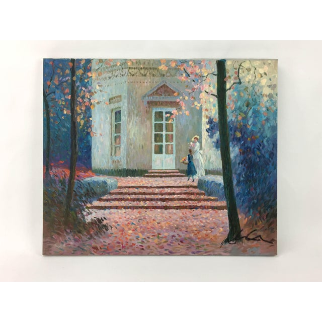 Mid 20th Century Vintage Impressionism House in Fall Scene Painting For Sale - Image 5 of 5