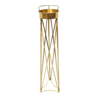 Mid-Century Modern Tall Braised Brass Plant Holder Pedestal For Sale