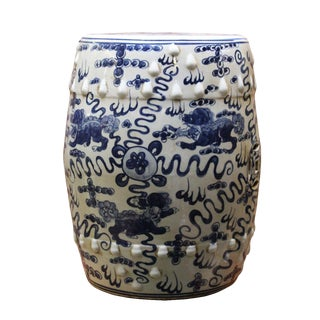 Chinese Blue & White Porcelain Foo Dogs Stool For Sale