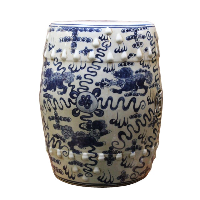 Chinese Blue & White Porcelain Foo Dogs Stool - Image 1 of 6