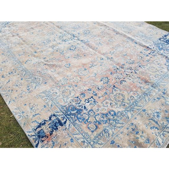 Distressed Turkish Oushak Rug- 9′ × 13′5″ For Sale - Image 9 of 11