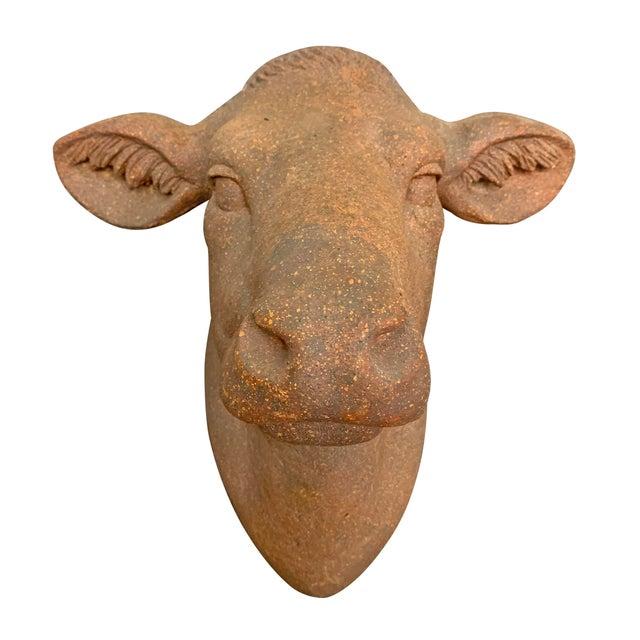 Farmhouse Terra-Cotta Cow Head For Sale - Image 4 of 10