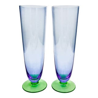 1960s Mid Century Modern Carlo Moretti Murano Lavender & Green Crystal Champagne Flutes - a Pair For Sale