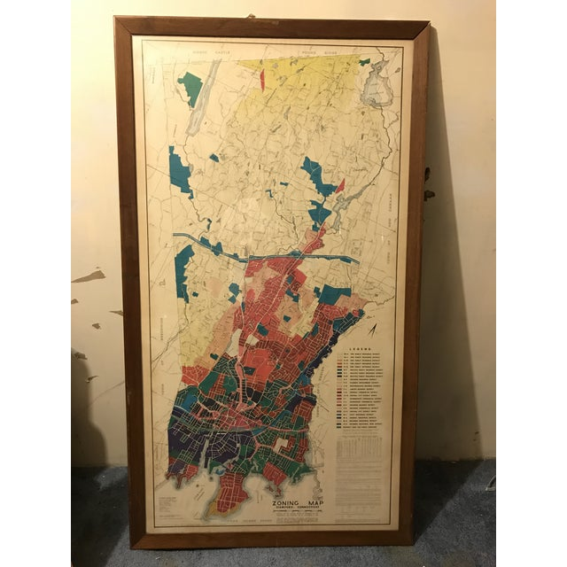 Nautical Vintage Stamford Connecticut Framed Zoning Map For Sale - Image 3 of 8