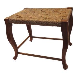 Vintage Scandinavian Twine Woven Seat Rectangular Stool For Sale