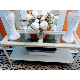 Thomasville Vintage Fretwork Faux Bamboo Palm Beach Regency Console Sofa Table Preview