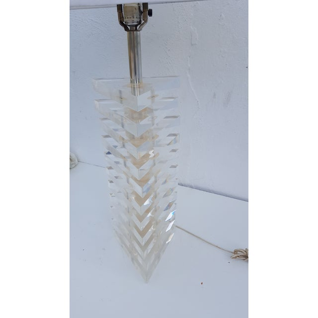George Bullio Triangular Stacked Lucite Table Lamp For Sale - Image 5 of 8