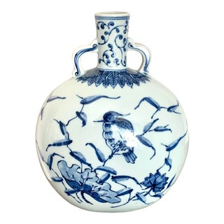 Vintage Chinoserie Bird Design Ceramic Bottle Vase For Sale