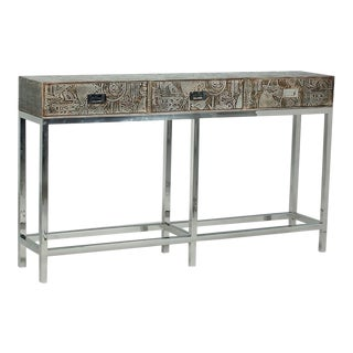 Galileo Stainless Steel Wooden Console For Sale