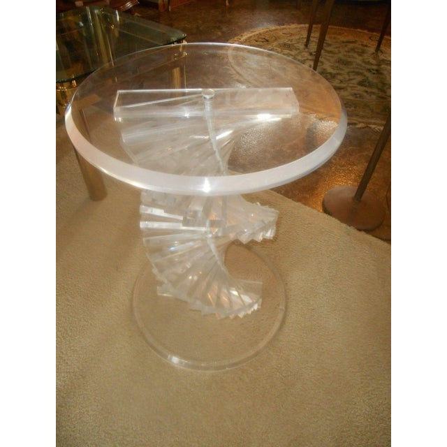 Vintage Lucite Helix Spiral Stacked Block Table Base - Image 4 of 8