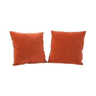 Kim Salmela Pumpkin Velvet Square Throw Pillows - a Pair For Sale