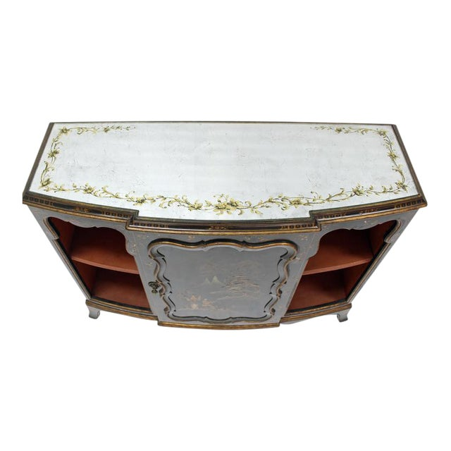 Mirrored Silver Gilt Bow Front Hand Decorated Console Cabinet Credenza Chinoiser For Sale