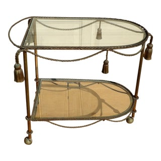 Vintage Rope & Tassel Metal Wheeled Cart With Glass Shelves For Sale