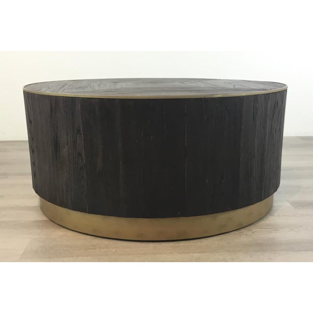 Industrial Modern Round Wood Cocktail Table For Sale In Atlanta - Image 6 of 6