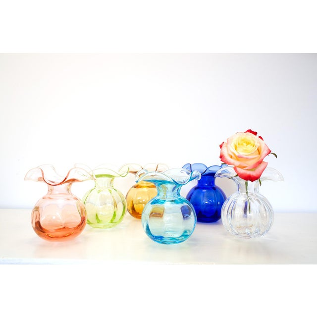 Description Mouthblown in Tuscany, the Vietri Hibiscus Small Light Green Cobalt Glass Bud Vase comes nestled in a...